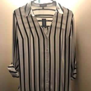 Black and white striped work blouse